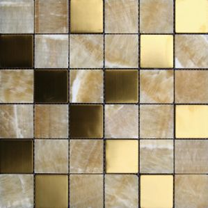 Metal Mixed Natural Marble Stone Mosaic Floor Tile (FYSM091) pictures & photos