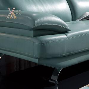 Blue Leather Sofa Set with Chrome Leg (831) pictures & photos