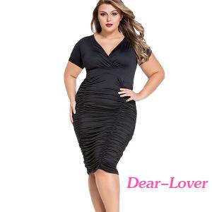 Plus Size Black Pleated Curvaceous MIDI Dress pictures & photos