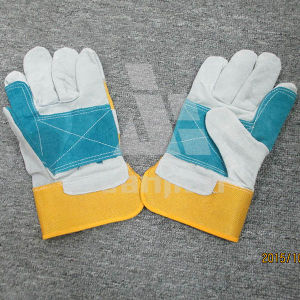 Color Blocking Leather Grad a/Ab/Bc Working Safety Glove pictures & photos