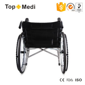 Topmedi Cheap Economic Folding Steel Wheelchair for Disabled pictures & photos