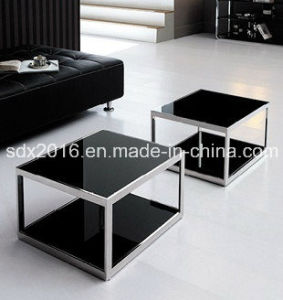 Modern Simple Black Glass Stainless Steel Square End Table pictures & photos