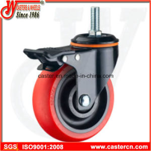 Medium Duty Red TPU Swivel with Brake Caster pictures & photos