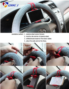 Universal Car Steering Wheel Mobile Phone Holder Bracket for iPhone Xiaomi Samsung Huawei Meizu GPS Width of Suitable 55mm-75mm pictures & photos