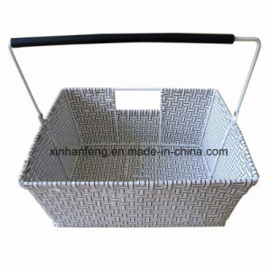 Plastic Wicker Bike Basket with Handle (HBK-120) pictures & photos