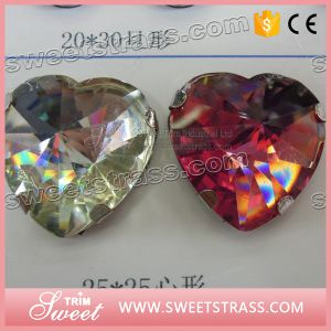 Heart Shape Sew on Crystal Stones Resin in Claw pictures & photos