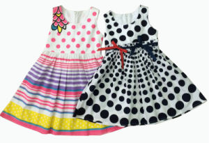 Multi Color Printed Stripe Girl Summer Dress (SQD-129-131) pictures & photos