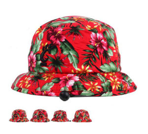 Colorful Flower Style Red Cotton Bucket Hat with Embroidery Logo pictures & photos