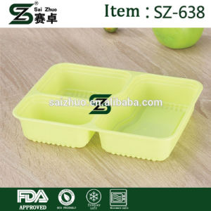 Disposable Lunch Box Thickened Rectangular 3 Plastic Cover for Wholesale pictures & photos