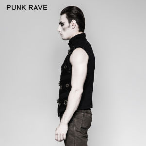 Cool Punk Rave Metallic Double-Breasted Men Waistcoat (Y-758) pictures & photos