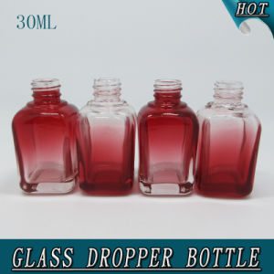Hot Sale! 30ml Gradient Red Square Glass Dropper Bottle 1oz pictures & photos
