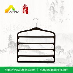 Black Non Slip Flocked Pant Hanger (FH100) pictures & photos