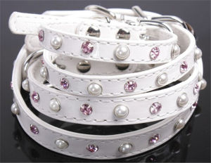 White Pet Collar and Leash with Pearl and Rhinesotne, Fashion and Luxury Pet Products pictures & photos