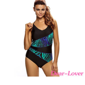 Asymmetric Print Splicing Straps Swimming Suit pictures & photos