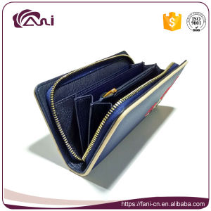 Small Leather Wallet for Mobile, Long Women Wallet with Embroidered Flower pictures & photos