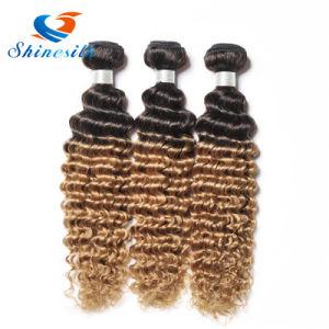 8A Ombre Brazilian Deep Curly Virgin Hair Deep Wave 3 Bundles Honey Blonde Ombre Deep Wave Brazilian Hair Weave Bundles Ombre pictures & photos