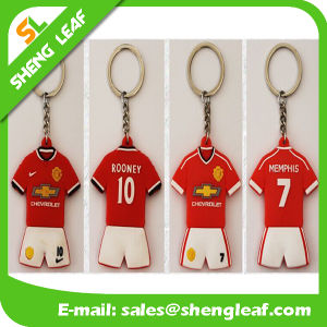 Blue Football Player Rubber 2D/3D Rubbier Keychains pictures & photos