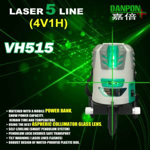 4V1h1d Rechargeable Auto-Leveling Multiline Green Laser Level Vh515 pictures & photos