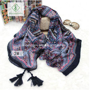 Retro Print ED Folk Style Geometric Shawl with Tassel Fashion Scarf pictures & photos