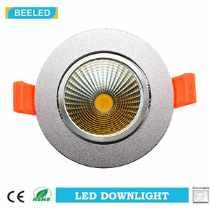 Dimmable LED COB Downlight 5W Warm White Aluminum Sand Silver