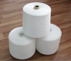 OEM 40s/2 Raw White 100% Virgin Spun Polyester Yarn with Paper Cone Polyeste Fiber Yarn pictures & photos