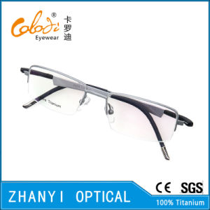 Latest Design Semi-Rimless Titanium Optical Glasses Frame Eyeglass Eyewear (1201-EW) pictures & photos