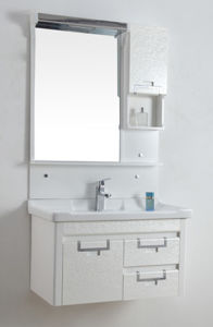 PVC Bathroom Furniture Wall-Mounted Ceramic Basin Cabinet Wds6121 pictures & photos
