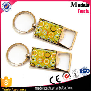 Promotion Zinc Alloy Gold Bottle Opener keychain with Epoxy Logo pictures & photos