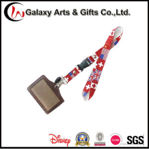 Customized Leather Brown Business ID Card Holder Full Color Lanyard pictures & photos