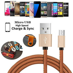 PU Leather Micro USB Charging Data Charger Cable for Samsung pictures & photos