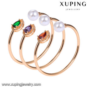 51731 Fashion 18k Gold Plated CZ Pearl Open Bangle with Eye Tear Design pictures & photos