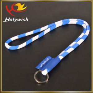 Popular Silk Screen Round Rope Lanyard with Keyring Hook