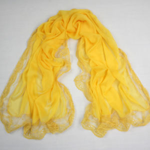 Yellow Polyester Chiffon Scarf Lace Shawls for Women pictures & photos
