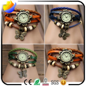 High Quality Fashion Women Quartz Wrist Watch and Weave Wrap Around Leather Watch pictures & photos