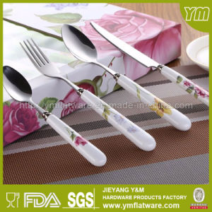 Promotion Set 4PCS Cutlery Set Ceramic Handle Cutlery, Fork and Spoon Set pictures & photos