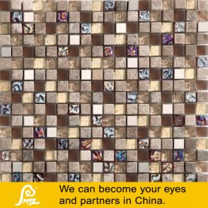 Stone Mosaic with Crystal Glass Mosaic Tile pictures & photos