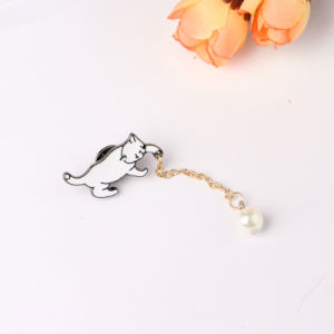 Fashion Cut Color Enamel Cat Brooch Pin Tassel Chain Drop Pearl Bead pictures & photos