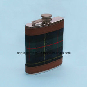 Patterned Leather Cover Stainless Steel Hip Flask BPS0180