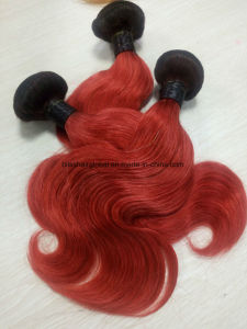 Brazilian Human Hair Ombre Two Tones 1b/Red Wave pictures & photos