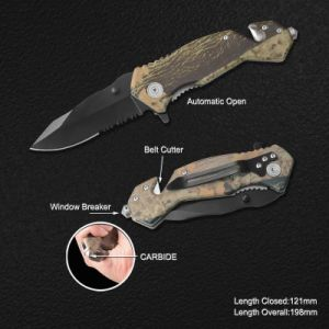 Spring Assissted Survival Knife with Carbide Window Breaker (#31020AT-CAMO-CBD) pictures & photos