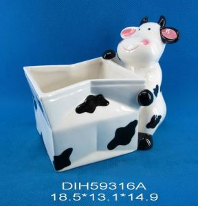 Hand-Painted Ceramic Cow Candy Bowl pictures & photos