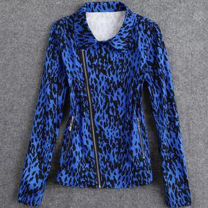 Cotton Bomber Jacket for Women Asymmetric Zipper Leopard Tops pictures & photos