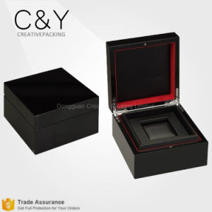 Custom Wholesale Luxury Black Lacquered Wooden Single Watch Packaging Box pictures & photos