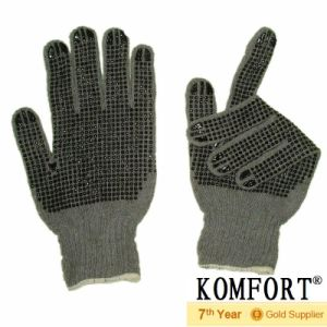 Grey T/C Work Protective Knit Glove with PVC DOT (JMC-410B) pictures & photos