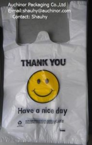 Plastic HDPE Custom Printed T-Shirt Bag Singlet Bag pictures & photos