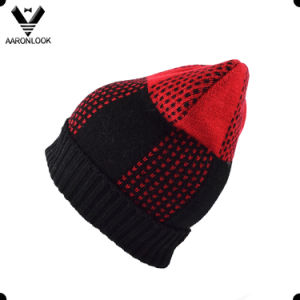 Women Red and Black Acrylic Jacquard Wholesale Winter Hat with Brim pictures & photos