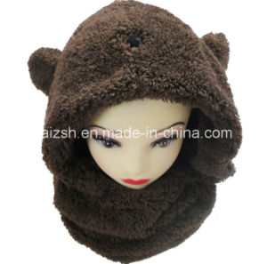 Sherpa Scarves Rabbit Ears Hat Integrated Double Layers Hat Scarf pictures & photos