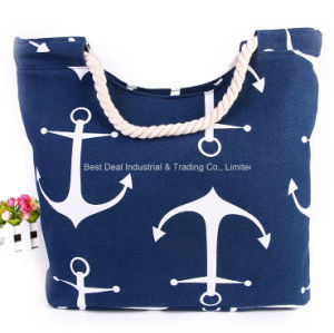 New Navy Striped Canvas Beach Bag Shopping Bag pictures & photos