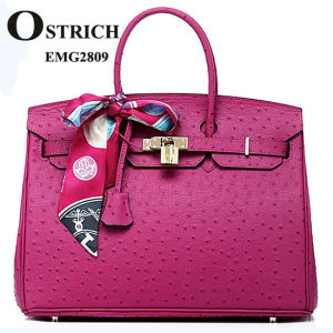 Spring Famous Classical Ostrich Tote Handbag with Scarf Emg2809 pictures & photos
