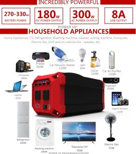 270wh 300W Portable Lithium Battery Solar Power Generator with Ce/RoHS/FCC pictures & photos